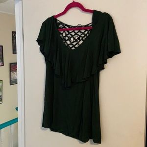 Avon Forest Green Frill Shirt with Back Netting